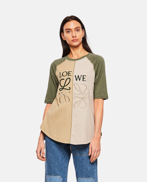 T-shirt in cotone color block anagram  Donna Loewe 000307000044998 1
