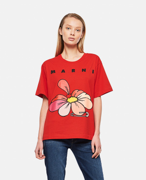Printed cotton jersey T-shirt Donna Marni 000289660042655 1