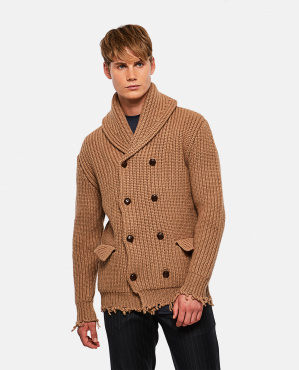Double-breasted cardigan with raw cut