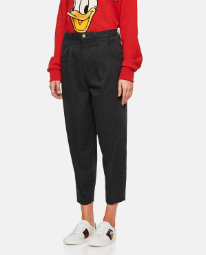 Cotton washed effect wide trousers  Women Frame 000286270042248 1