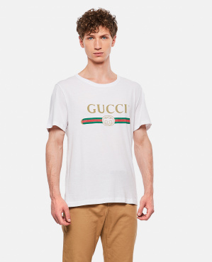 Oversized Délavé T-Shirt With Gucci Logo