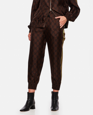 Silk trousers with GG Supreme print