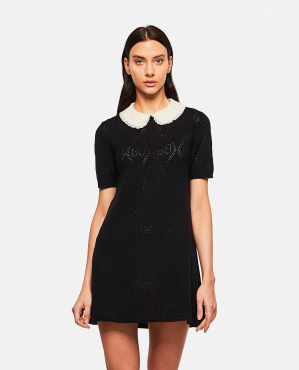 Wool dress with embroidered collar Women Gucci 000287070042333 1