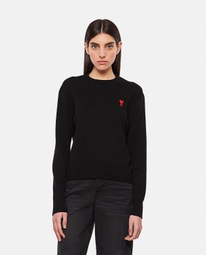 Wool sweater with embroidery Women AMI Paris 000350010050934 1