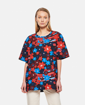 Rainbow Flowe print cotton poplin shirt Donna Marni 000289610042649 1