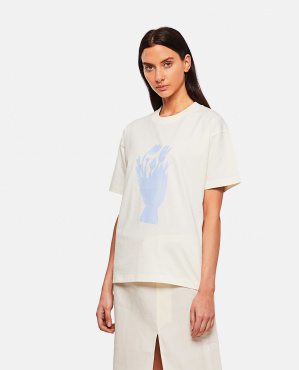 T-shirt in cotone con stampa Donna Jacquemus 000302330044401 1