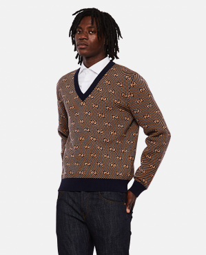 V-neck wool sweater with GG motif
