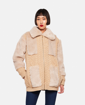 Cardigan with faux fur insert