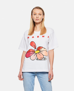 Printed cotton jersey T-shirt Donna Marni 000289660042656 1