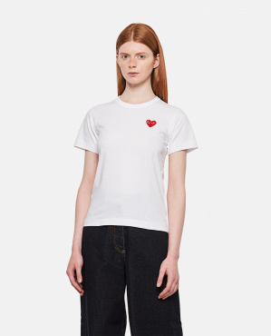 T-shirt in cotone con patch cuore Donna Comme des Garcons Play 000051340008976 1
