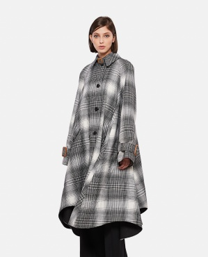CURVED HEM A-LINE CHECK WOOL TRENCH COAT Women JW Anderson 000337650049179 1