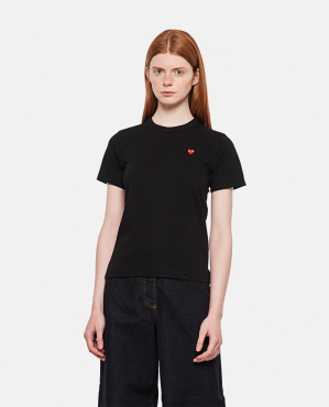 T-shirt in cotone con patch cuore Donna Comme des Garcons Play 000290210042737 1