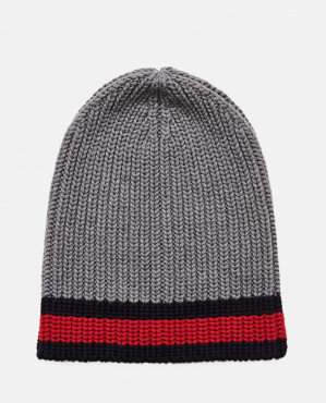 Wool hat with red and blue Web detail