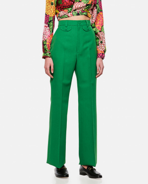 Flare trousers in wool twill Donna Gucci 000286990042323 1