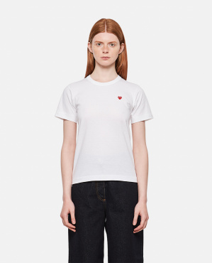 T-shirt in cotone con patch cuore Donna Comme des Garcons Play 000290210042738 1
