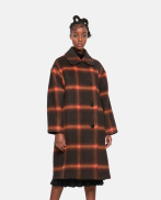 Double-breasted maxi check coat