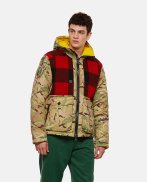 Down jacket with multicolored camouflage print
