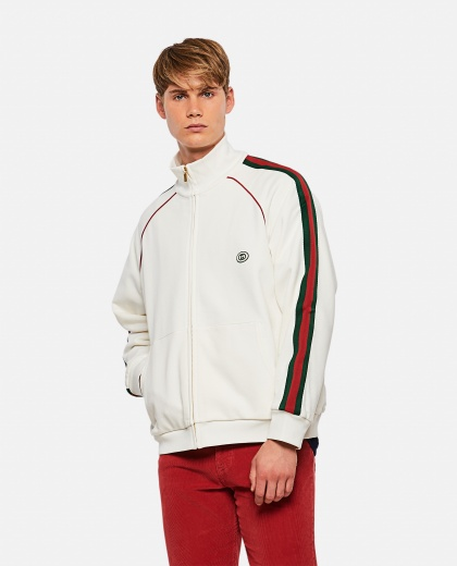Jersey sweatshirt with zip and Web tape Men Gucci 000267650039486 1