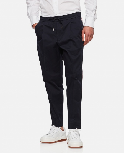 Cropped cotton trousers with drawstring Men Moncler 000315440046226 1