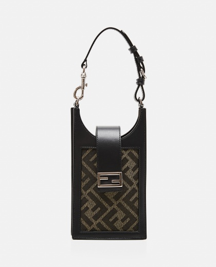 Cell phone holder in brown fabric Men Fendi 000310470045523 1