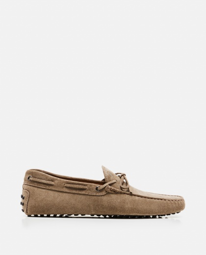 Rubber suede moccasin