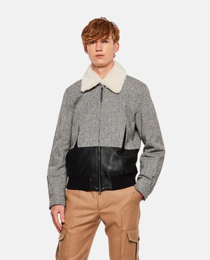 Bomber with fur collar Men Alexander McQueen 000268770039627 1