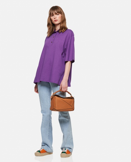 Cashmere and cotton Oversized Anagram polo shirt  Women Loewe 000306990044996 2