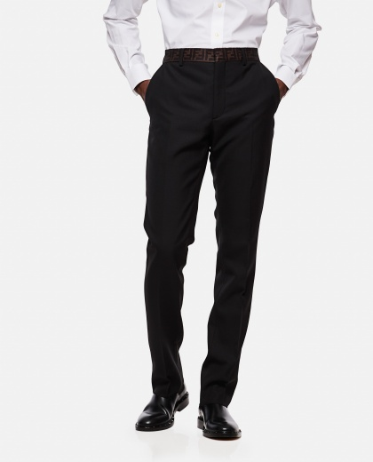 Logo waistband tailored trousers