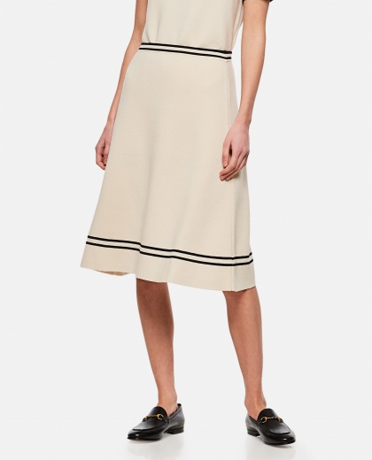Wool skirt with contrasting finishes Women Gucci 000287050042330 1