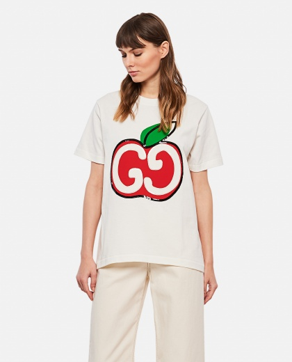 White T-shirt with GG apple print