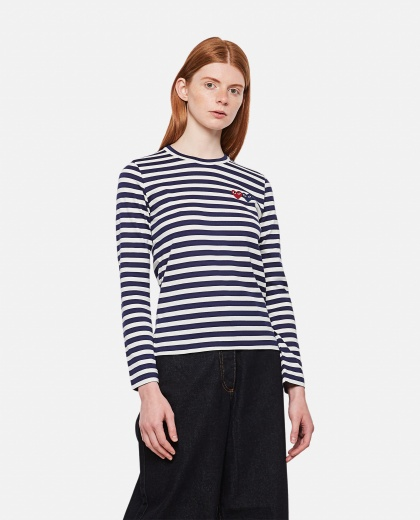 Long sleeve T-shirt with double front heart patch Women Comme des Garcons Play 000051410008985 1