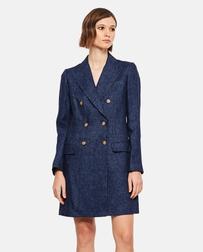 Denim blue linen blend double breasted coat Women Polo Ralph Lauren 000223460033068 1