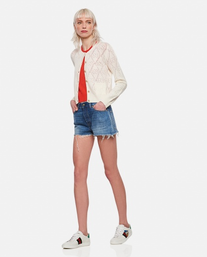 Short cardigan in wool with perforated GG motif Women Gucci 000273980040354 2