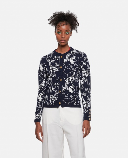Cashmere embroidered cardigan Women Thom Browne 000255690037786 1