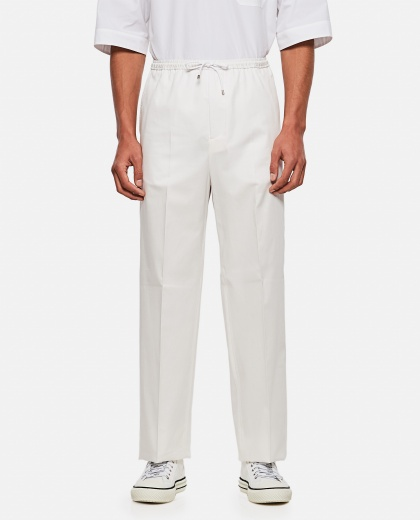 Cotton gabardine  Loose fit trousers with drawstring Men Valentino 000295120043404 1