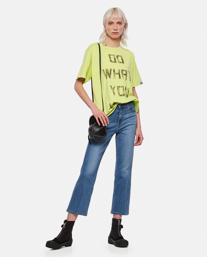 Lime-colored Aira T-shirt with contrasting black lettering on the front Women Golden Goose 000286530042276 2