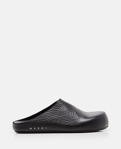 Black sabot in grained leather Women Marni 000289740042670 1