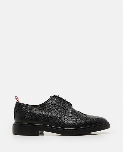 Textured leather  Lace-up derby with dovetail brogue motif Men Thom Browne 000080390012583 1