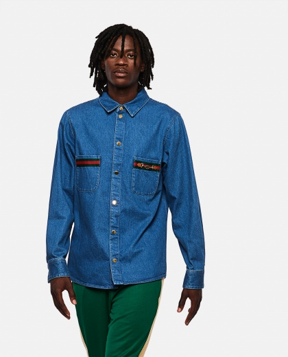 Stone-washed denim shirt with Web