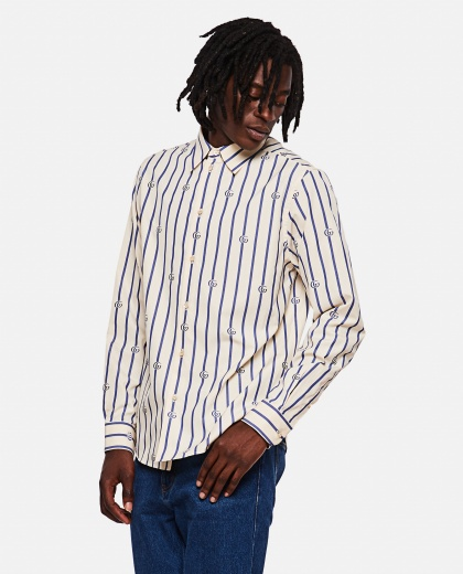 Striped cotton shirt with Double G