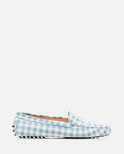 Leather Gommino loafer with checks print Women Tod's 000310690045557 1