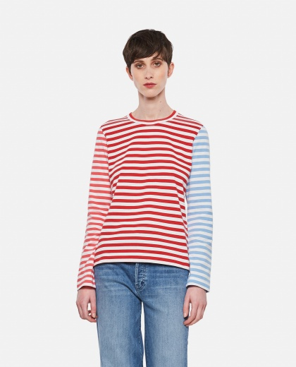 Cotton and striped sweater Donna Comme des Garcons 000316680046383 1