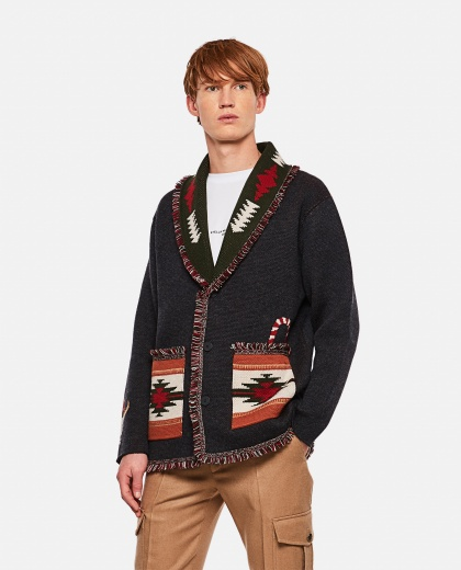 Jacquard cardigan with Christmas logo Men Alanui 000295310043426 1