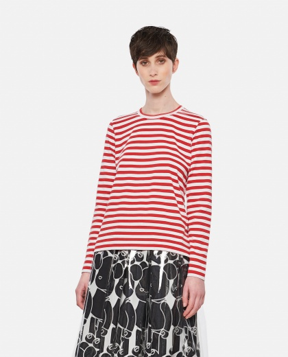 Cotton and striped sweater Women Comme des Garcons 000316670046382 1