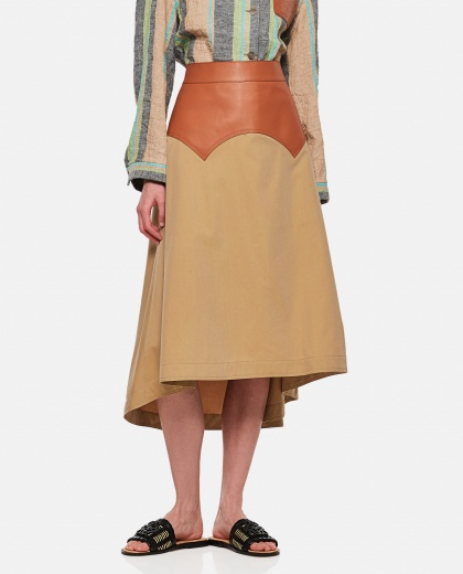 Long obi skirt in calfskin and fabric Women Loewe 000307080045006 1