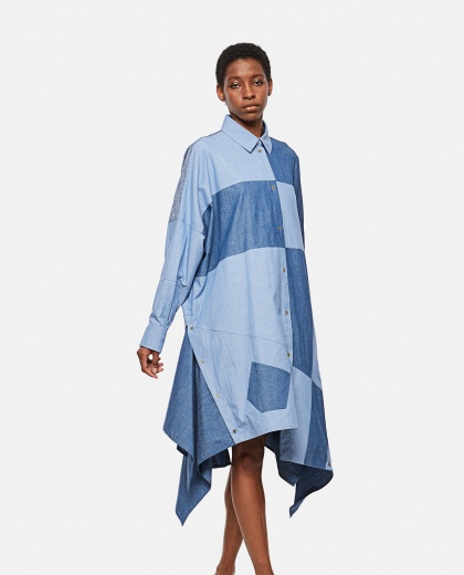 Abito oversize patchwork in cotone Donna Loewe 000307050045003 1
