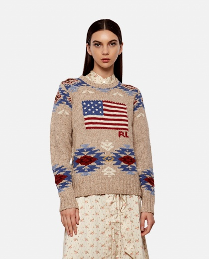 Sweater with American flag inlay Women Polo Ralph Lauren 000258160038139 1