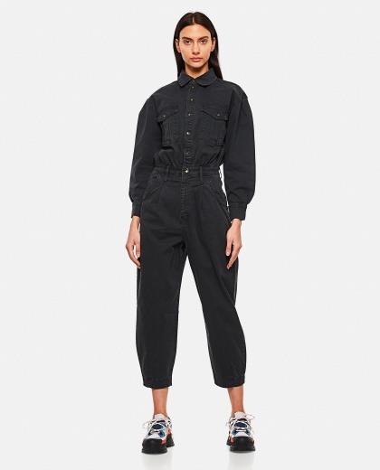 Pleated Barrel Leg Jumpsuit Washed Black Women Frame 000286240042245 1