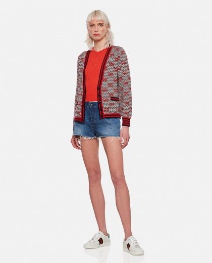 Wool top with perforated GG motif Women Gucci 000287060042331 2