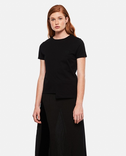T-Shirt With Asymmetrical Hem With Embroidered Logo